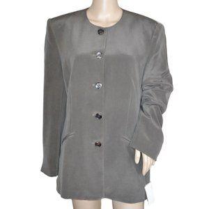 NWT JNY Taupe-Brown Long Driving Silk Blazer 12